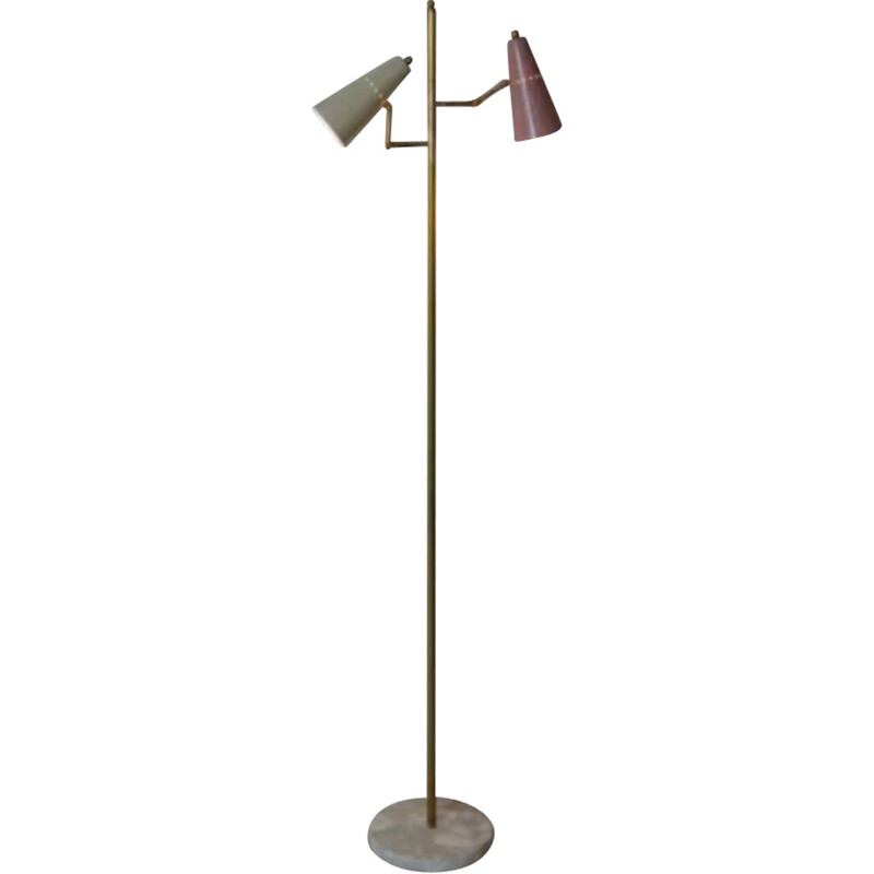 Italian floor lamp in brass and marble with 2 pink and white arms - 1950s