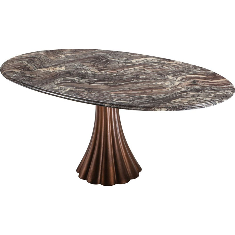 Vintage marble dining table on metallic cast base by Angelo Mangiarotti 1970s