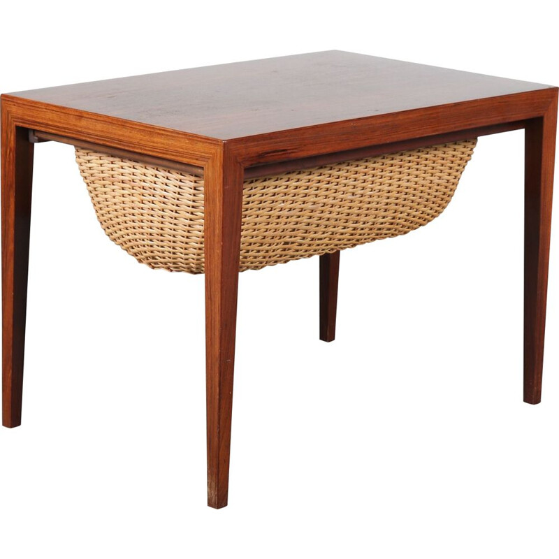 Vintage Rosewooden Danish sewing table by Severin Hansen for Haslev, Denmark 1950