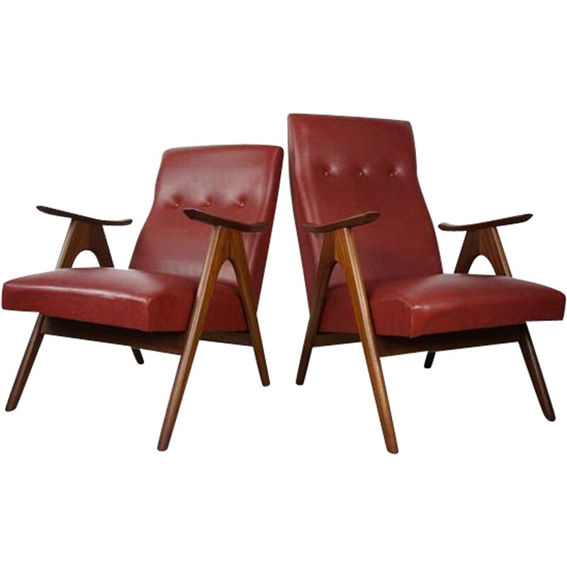 Pair of vintage armchairs by Louis Van Teeffelen for Webe