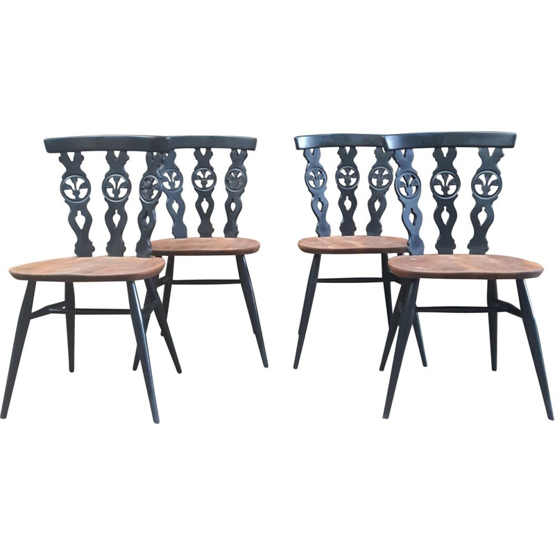 Vintage set of 4 Ercol Fleur De Lye Dining Chairs