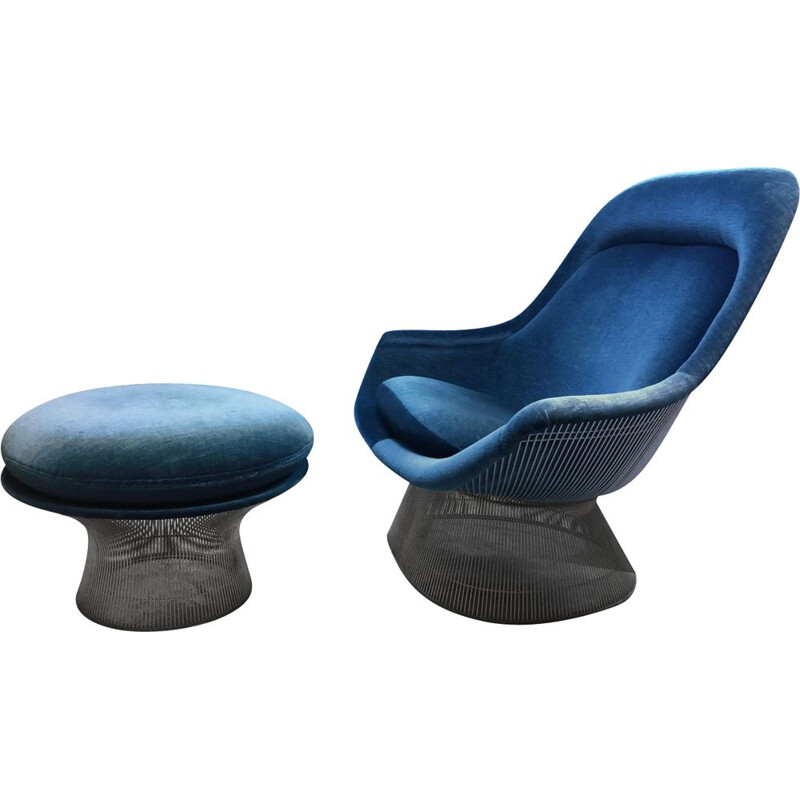 Vintage blue velvet Easy chair Warren Platner
