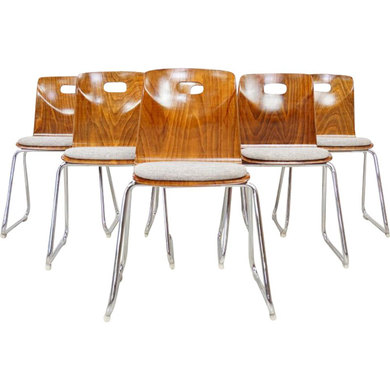 Suite of 6 vintage dining chairs by Pagwood Pagholz, Germany, 1960s
