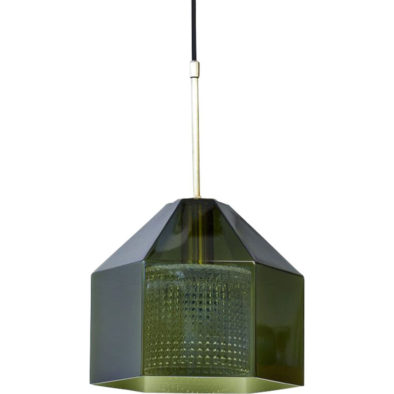 Vintage Glass & Brass Pendant Lamp by Carl Fagerlund for Orrefors