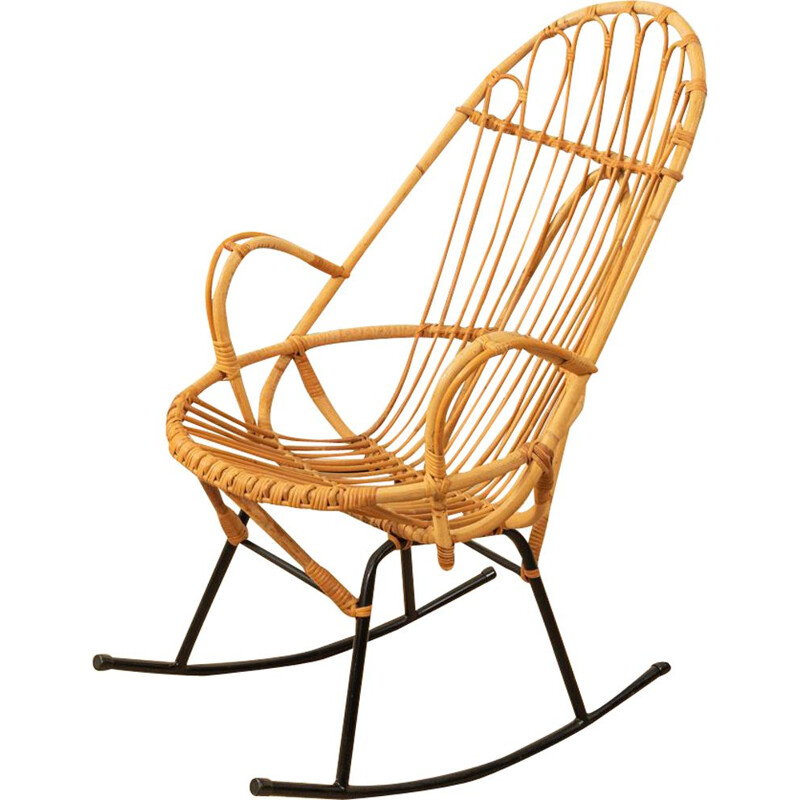 Vintage bamboo and metal rocking chair, 1950s
