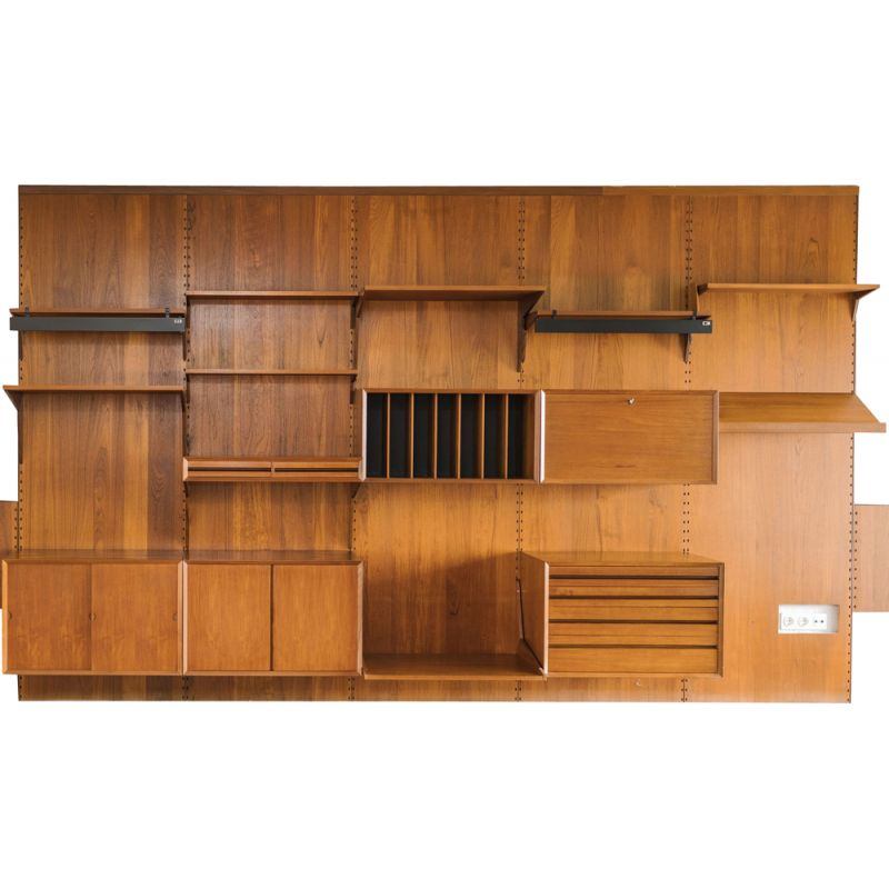 Modular teak wall shelf by Poul Cadovius for Royal System, 1950s