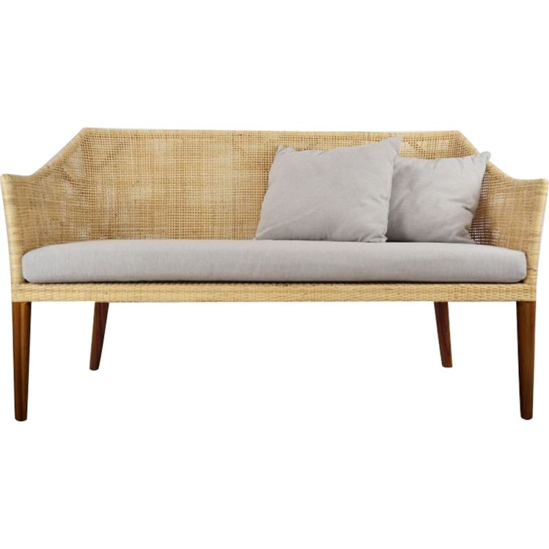 Vintage 2-seater sofa in wood and rattan