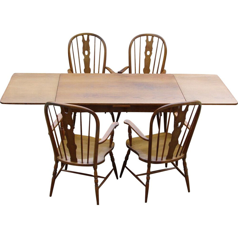 Vintage dining set with one table and four chairs Windsor, 1970