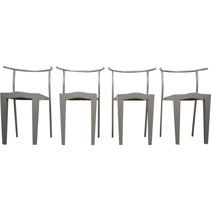 Set of 4 vintage Dr Glob chairs by Philippe Starck for Kartell, 1980s