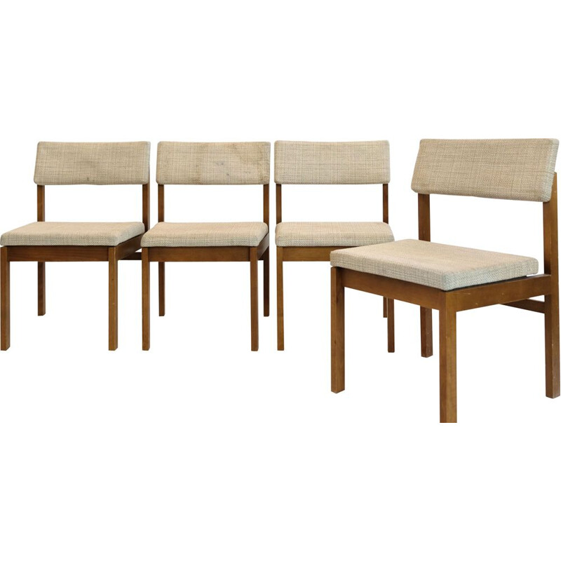 Set of 4 vintage chairs in wood and wool by Willy Guhl, 1959