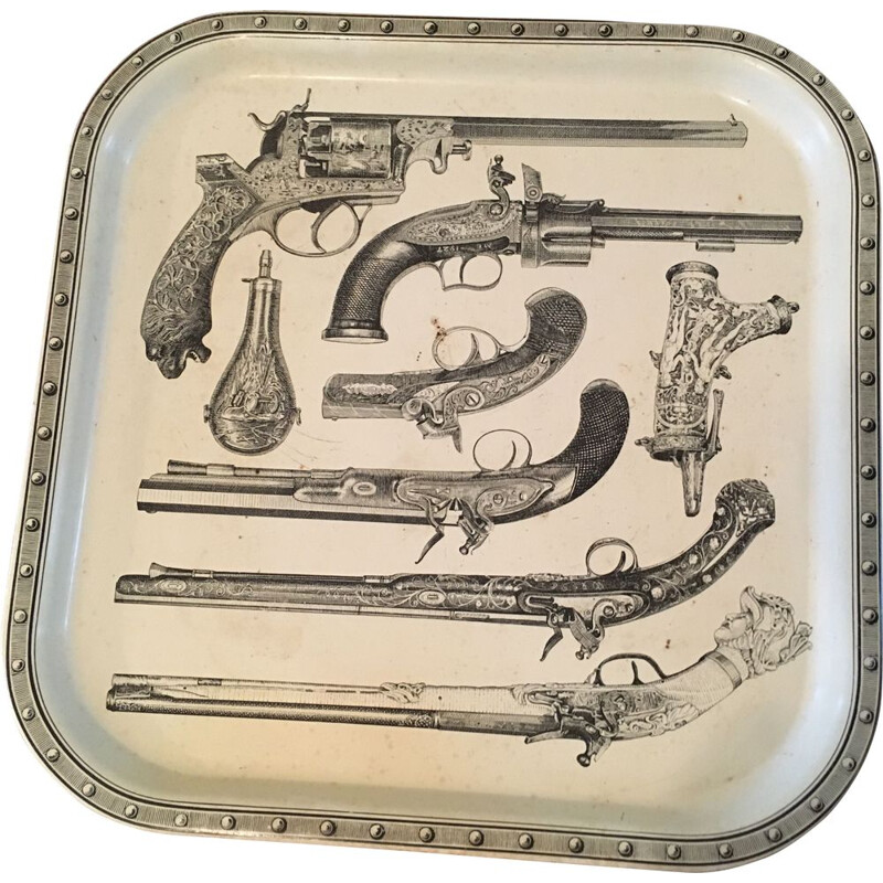 Vintage square steel platter from Fornasetti