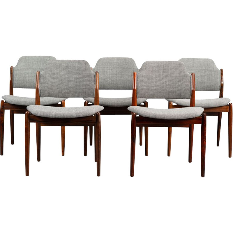 set of 5 Vintage Rosewood N 62 Dining Chairs by Arne Vodder for Sibast, 1950