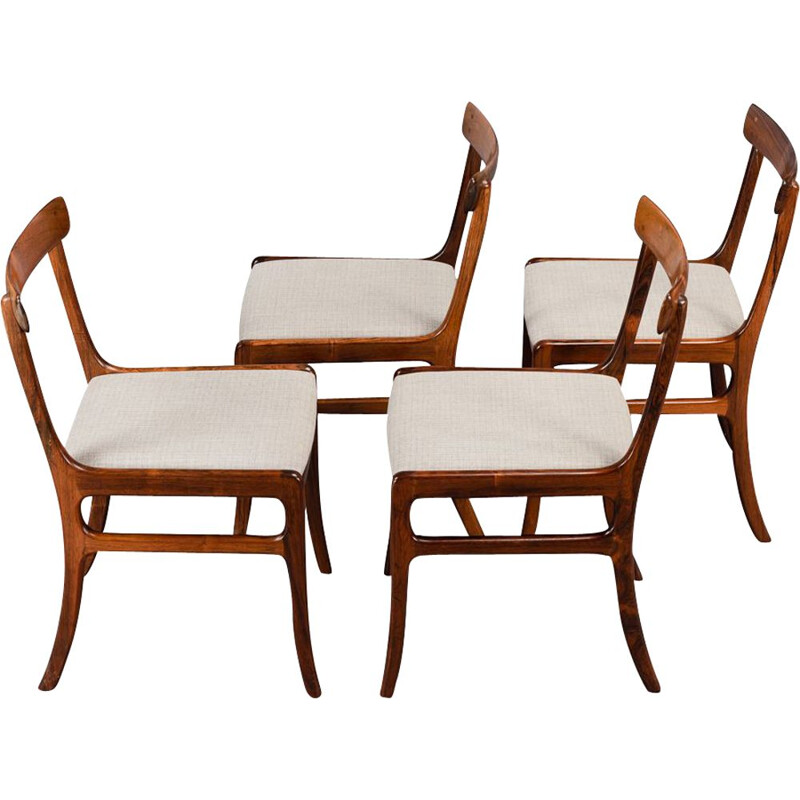Set of 4 vintage Rosewood Rungstedlund dining chairs by Ole Wanscher for PJ Denmark