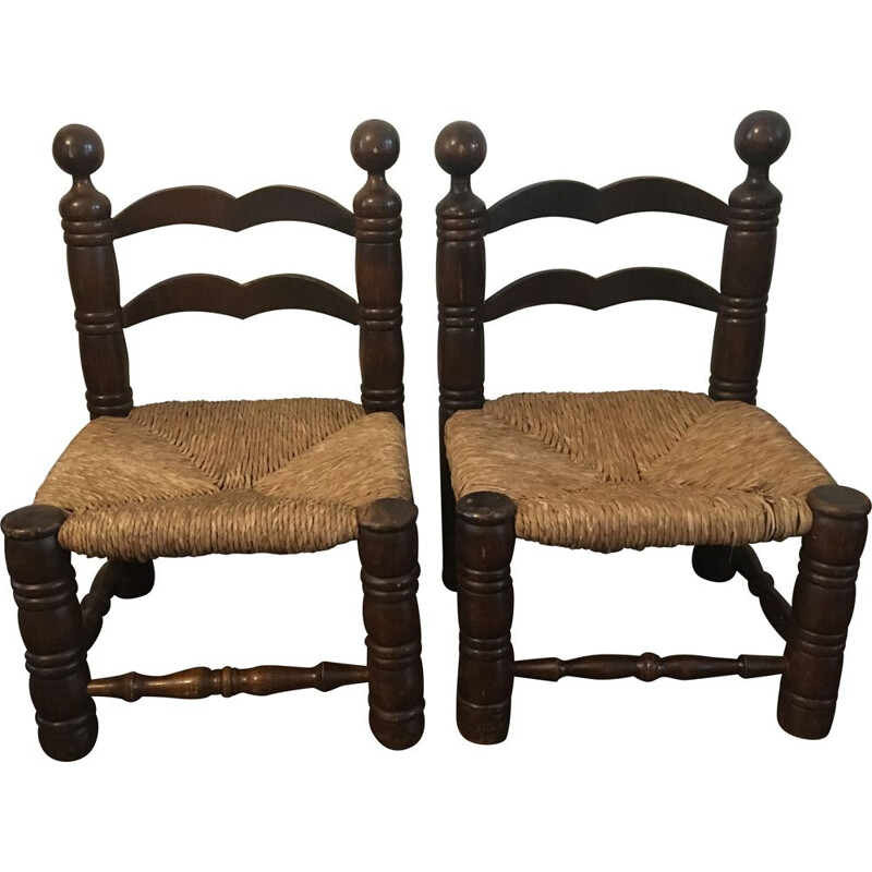 Pair of vintage art deco low chairs 1930