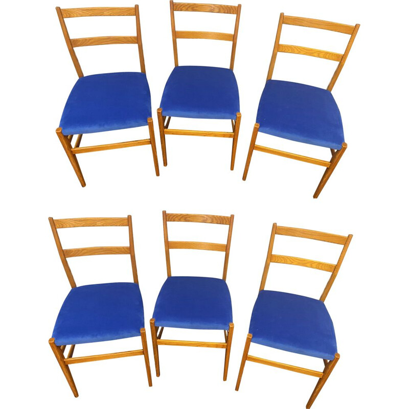 Set of 6 vintage Leggera chairs by Gio Ponti 1950