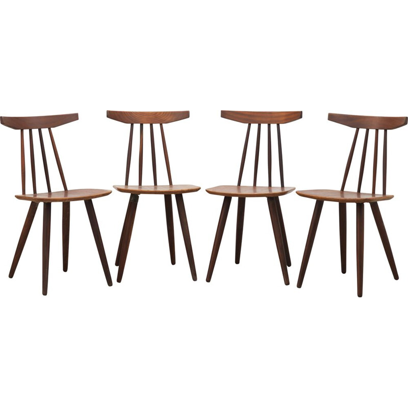"Set of 4 ""Spindle back"" chairs, model 370 by Poul Volther for Møbelfabrik 1961"