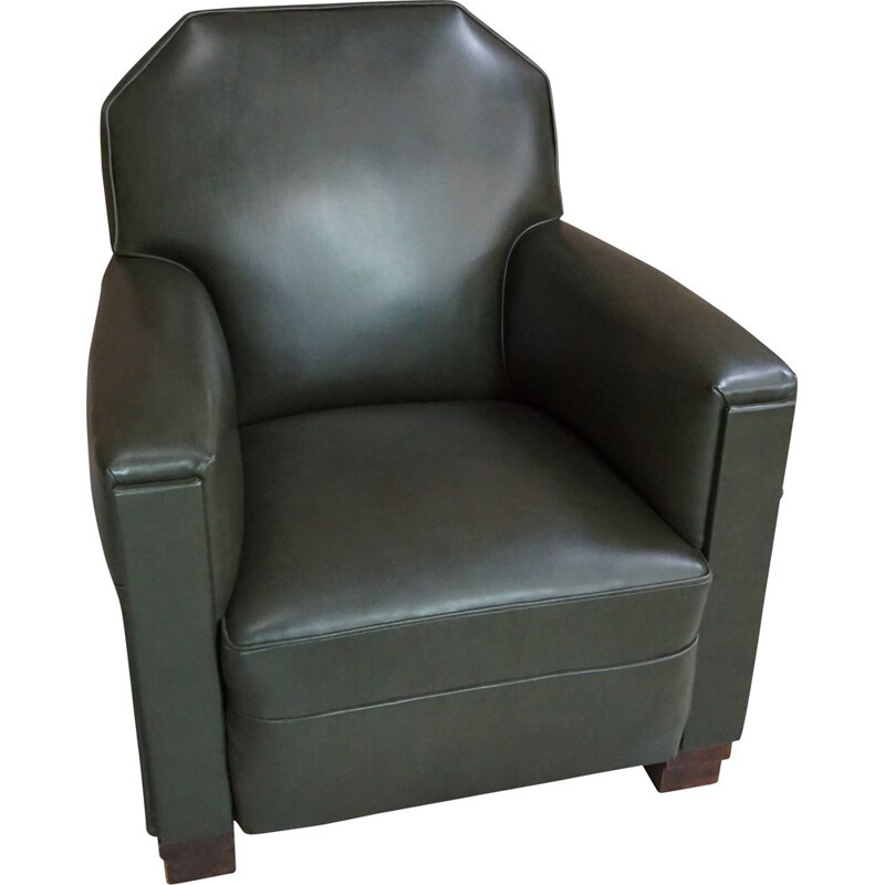 Vintage art deco club armchair in skai and wood
