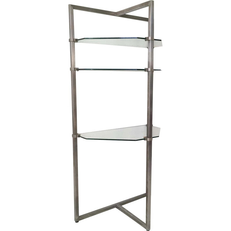 Vintage Stainless Steel and Glass Wall Shelf by Peter Ghyzy.