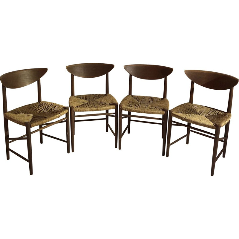 Suite of 4 vintage chairs by Peter Hvidt and Molgaard Nielsen