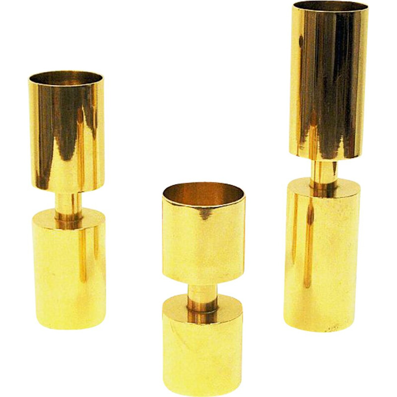 Set of 3 vintage candleholders by Zoégas Brass, Sweden, 1976s