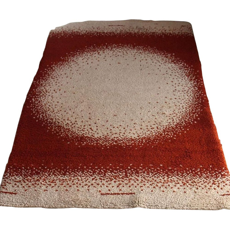 Large vintage wool rug with abstract patterns, 1970s