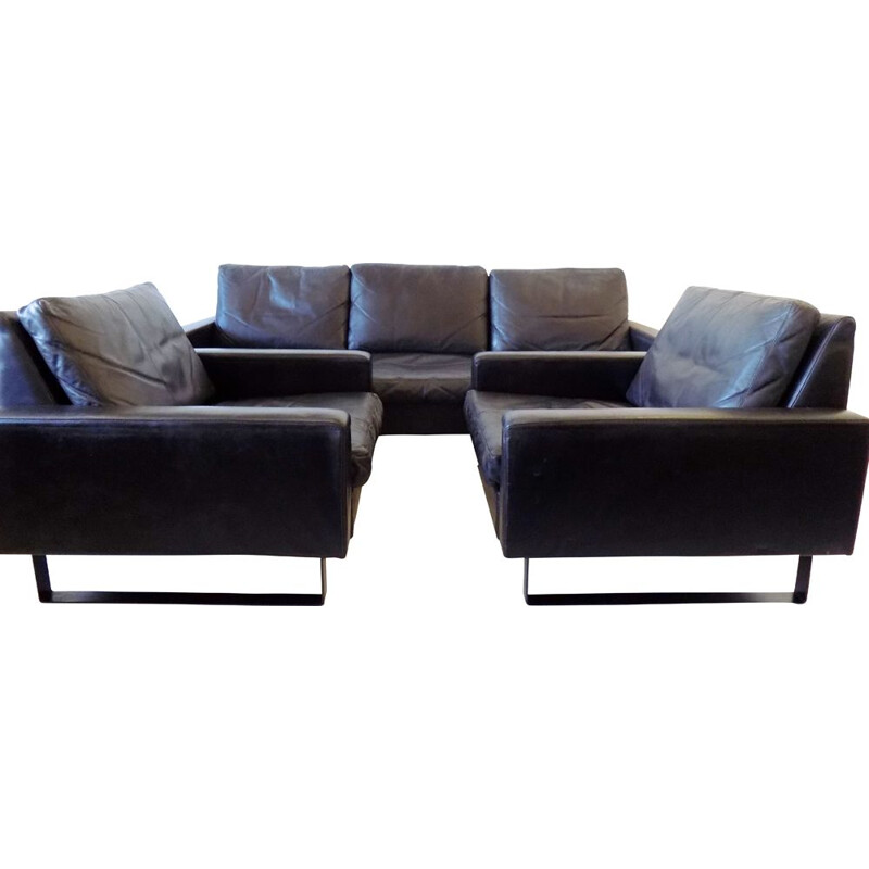 "Vintage black leather living room set ""Conseta"" by F.W. Möller for COR"