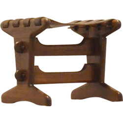 Stool in solid teak and leather with incan patterns, Angel PAZMINO - 1960s