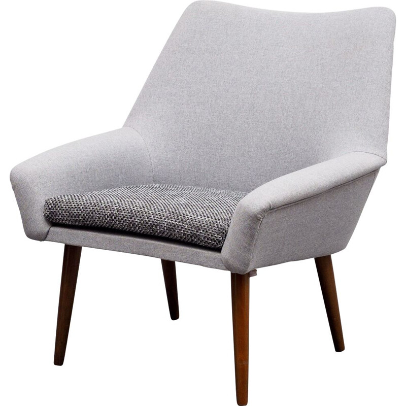 Vintage cocktail armchair in light grey fabric, 1950