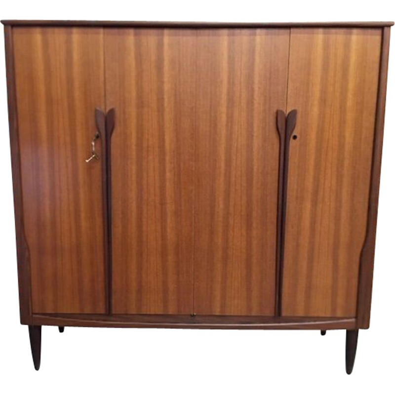 Vintage Scandinavian teak cabinet with 4 doors, 1970