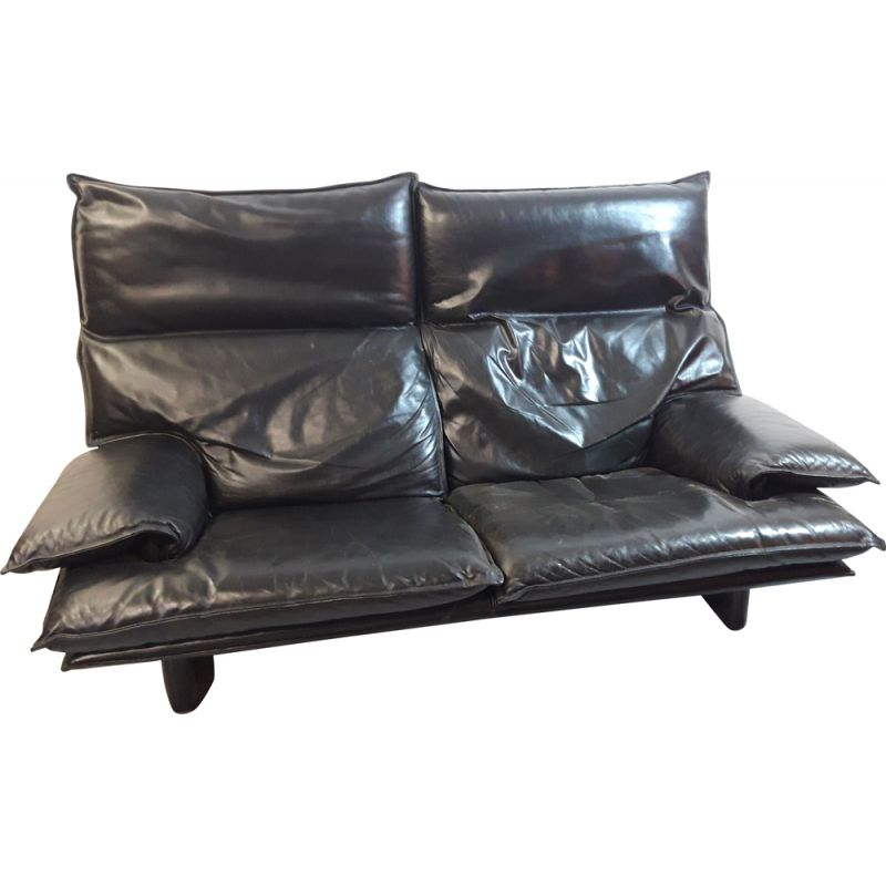 Vintage Italian black leather sofa with removable backrests, 1970