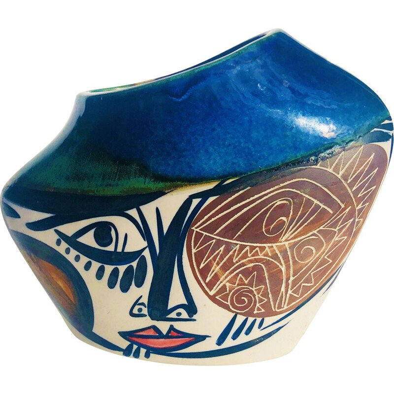 Glazed ceramic vase with hand-painted decoration, 1960