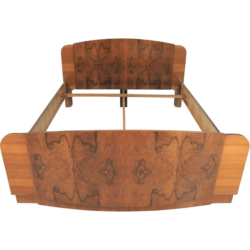 Vintage walnut Art Deco bed by Jindřich Halabala for UP Závody, 1950s
