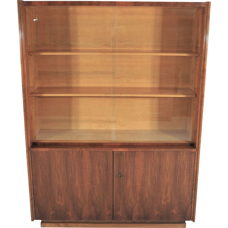 Vintage Jindřich Halabal's walnut display cabinet for UP Závoda, 1955