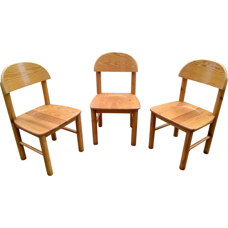 Set of 3 Pine Chairs by Rainer Daumiller