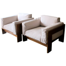 """Pair of armchairs """"Bastiano"""" Tobia SCARPA - 1970s"""