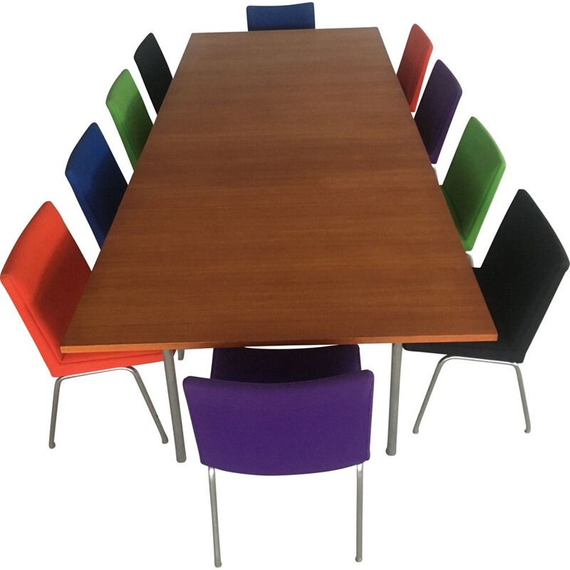 Set of 2 Conference Tables in Teak and Metal with 24 Airport Chairs, Hans Wegner