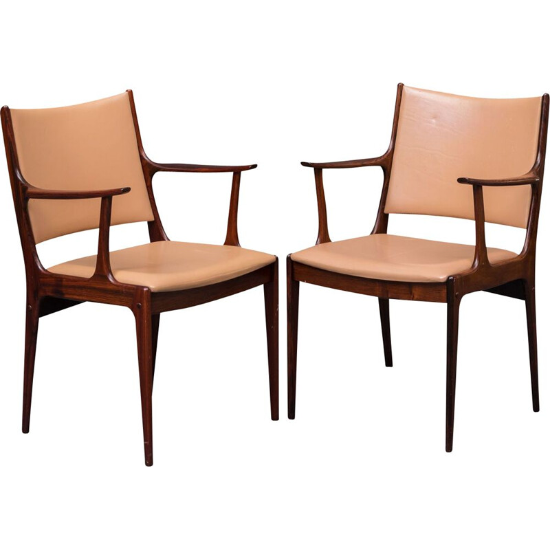 Pair of Refinished Rosewood Armchairs by Johannes Andersen, Inc