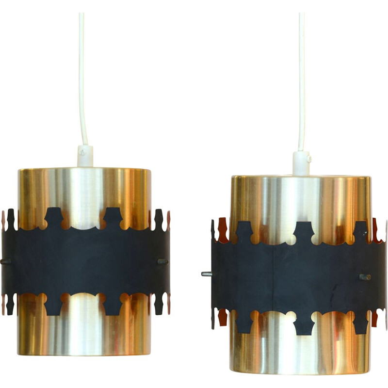 Pair of brass colored pendant lights by Werner Schou for Coronell Electro. Denmark 1960s