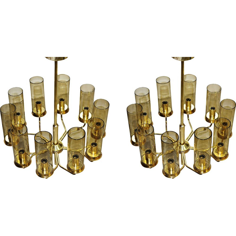 Set of Two vintage T10 Hans-Agne Jakobsson Chandeliers in Brass by AB Markaryd