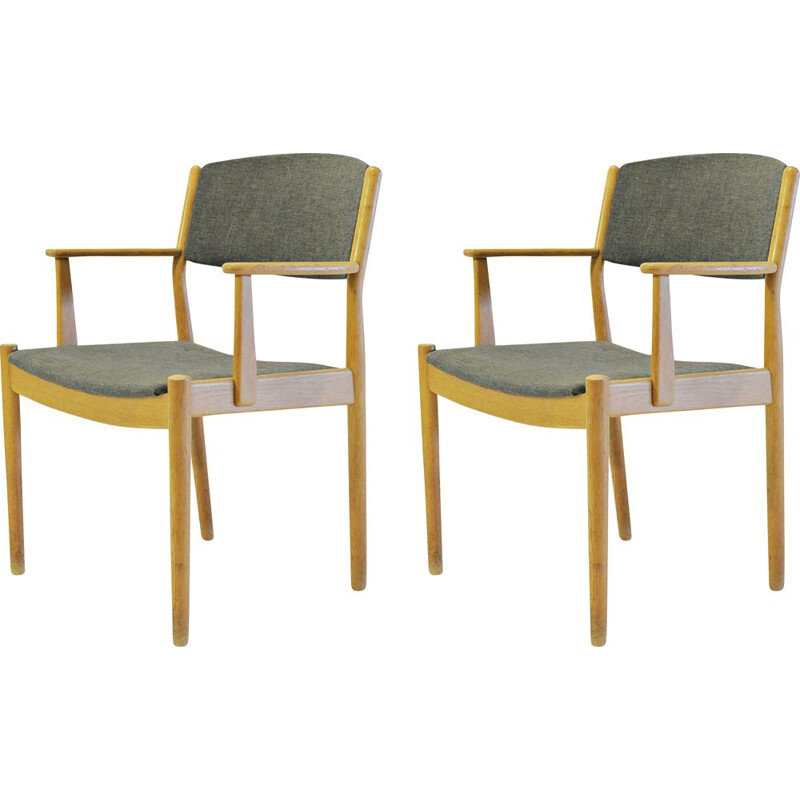 Set of Two vintage  Danish Poul Volther Refinished Armchairs in Oak, Inc. Reupholstery