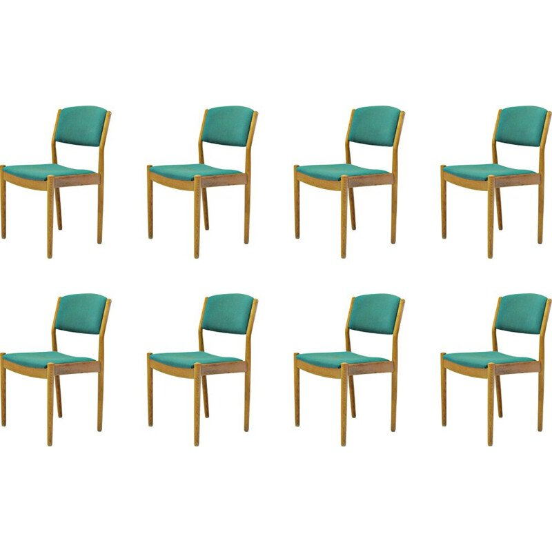 Set of Eight vintage Poul Volther Refinished Dining Chairs in Oak, Inc. Reupholstery