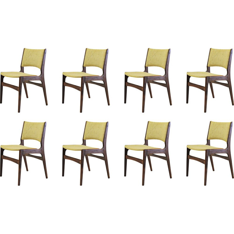 Set of Eight vintage Refinished Erik Buch Dining Chairs in Solid Teak, Inc. Reupholstery