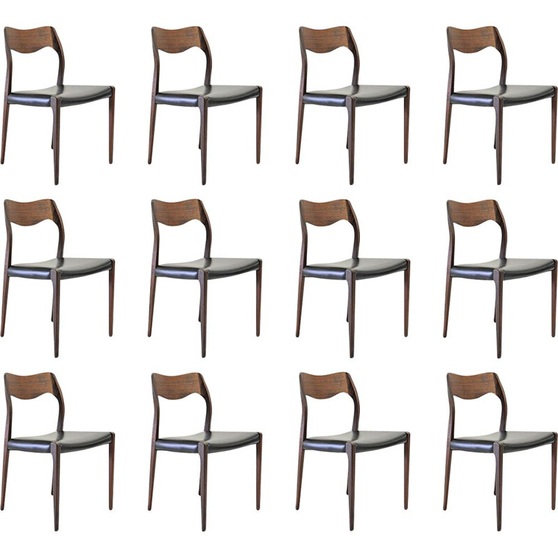 Set of 6 vintage Niels Otto Møller Twelve Refinished Teak Dining Chairs, Inc. Reupholstery