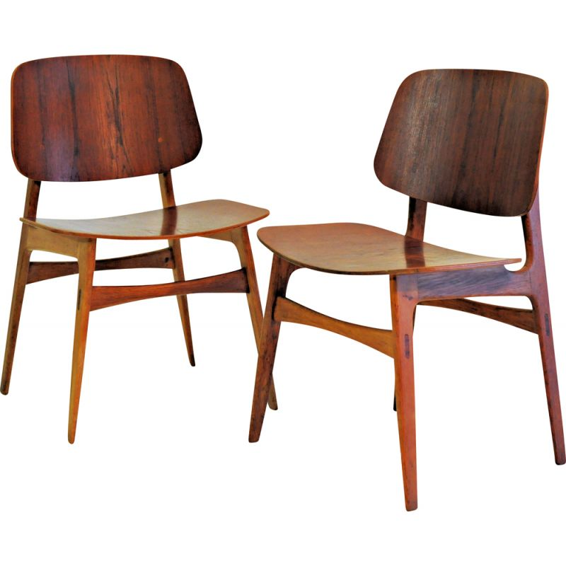 Set of Two Vintage Borge Mogensen Shell Chairs in Oak and Teak