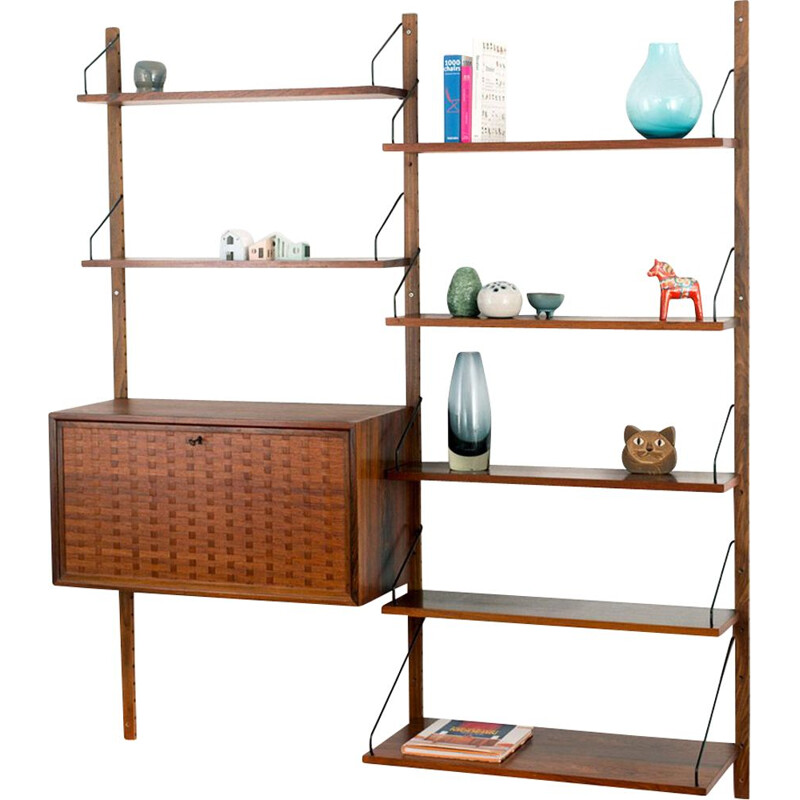 Vintage rosewood Poul Cadovius wall unit for Cado Denmark