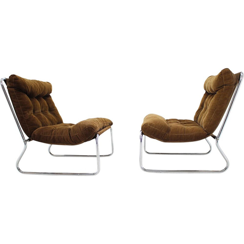 Pair of vintage Lounge Chrome Chairs, 1960