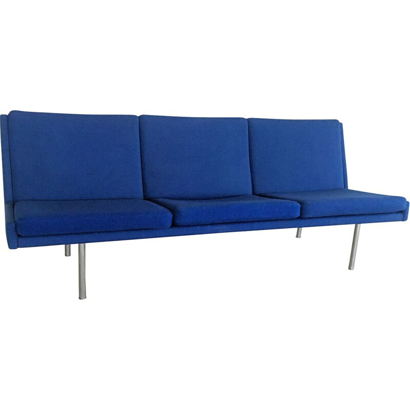 Vintage Airport Sofa in Original Blue Fabric by Hans J. Wegner for A.P. Stolen 1960s