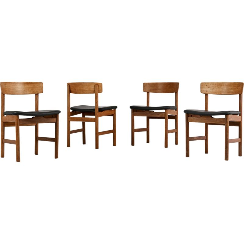 """Suite of 4 chairs model """"236"""", from the Danish designerBørge Mogensen for Fredericia"""