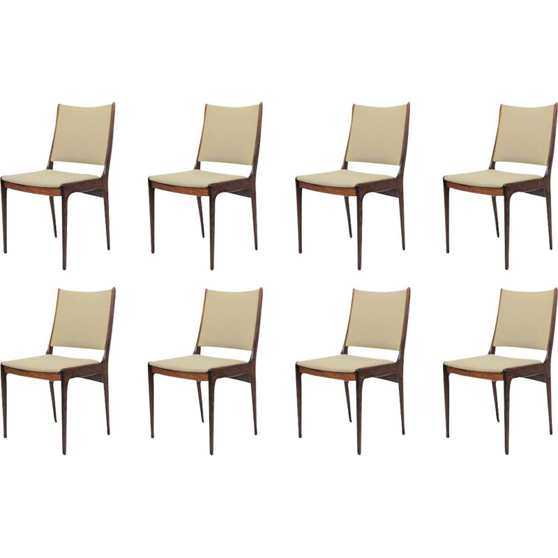 Set of Eight vintage Johannes Andersen Rosewood Dining Chairs - Inc. Reupholstery