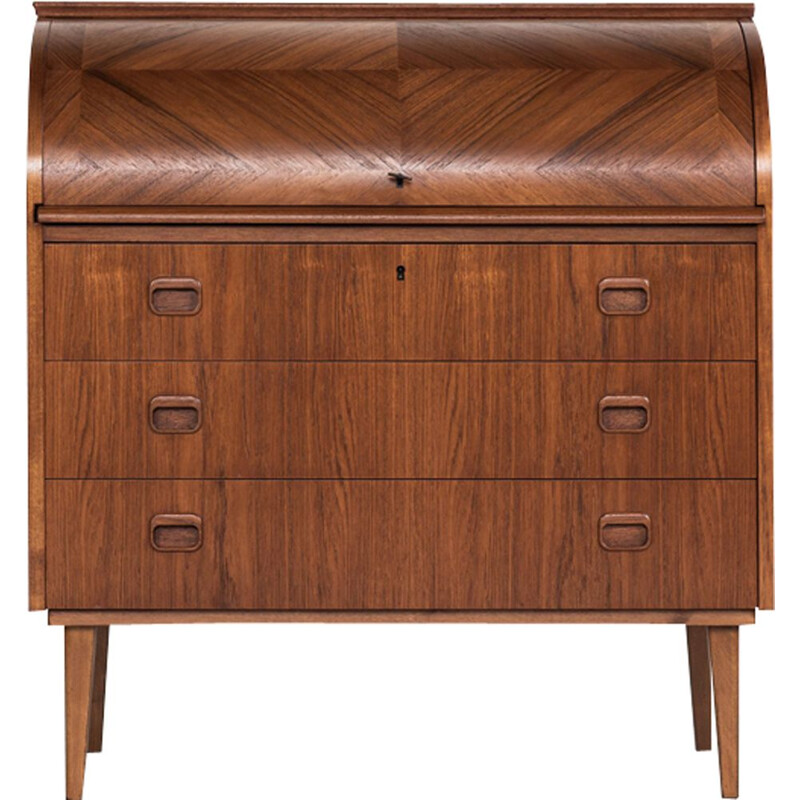Vintage Danish secretaire in teak with bowed front, 1960s